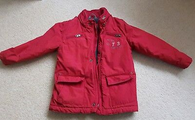 Timberland Boys Red Padded Fleece Lined Hooded Winter Coat Jacket Age 4 Years