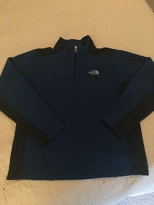 The North Face Boys Youth Fleece Quarter Zip Pullover Jacket Size XL 18/20 Blue