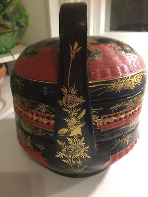 Chinese Red Black and Gold Traditional Tiered Bakul Siah Wedding Basket