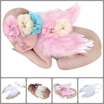 Unisex Baby Girl Boy Newborn Angel Feather Wings Photography Props With Headband