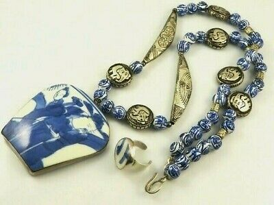 ANTIQUE CHINESE PORCELAIN  STERLING SILVER PENDANT Necklace