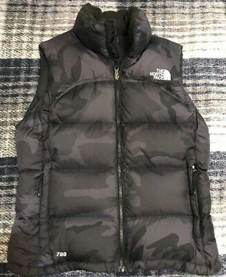 Women's The North Face Outdoor Vest 700 Fill, Black & Blue Camouflage, Sz M