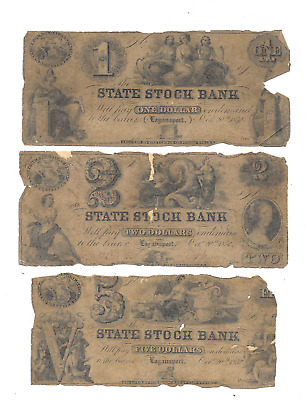 Lot Of (3) Scarce 1853 $1 $2 & $5 State Stock Bank Logansport Obsolete Currency
