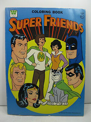 1975 Super Friends Coloring Book Comic Heroes Batman Robin Superman Wonder Woman