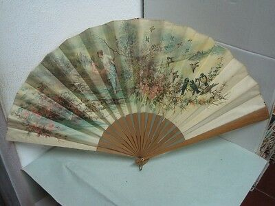 Antique Fan in wood and fabric with  a lady and birds