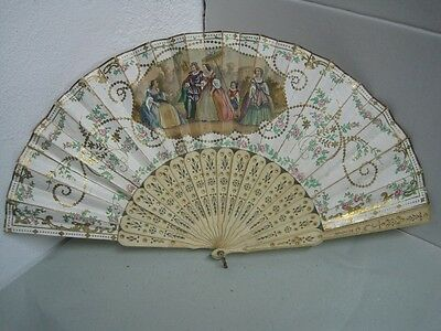 Antique Carved Fan 19th Century with a couple  painted by hand to repair