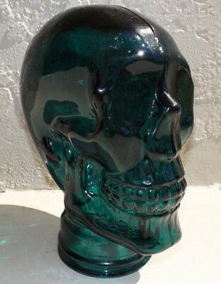 "SKULL 11"" CLEAR DARK GREEN GLASS HEAD WIG HALLOWEEN LANTERN DISPLAY Skeleton"