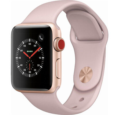 Apple Watch Series 3 38MM Gold Aluminum Pink Sand Sport GPS Cellular MQJQ2LL/A