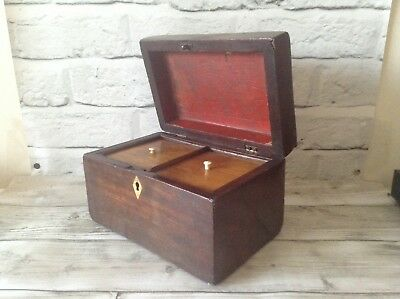 English Antique Georgian Twin Compartment Mahogany Tea Caddy Collectable