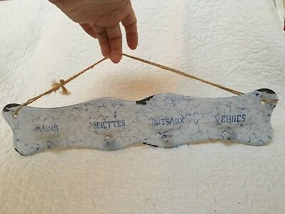 Vintage French Enamelware Chickenwire Pattern Hook