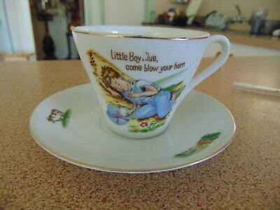 1940-1950 Little Boy Blue Child Size Cup and Saucer Rare 50s Childhood Kitsch
