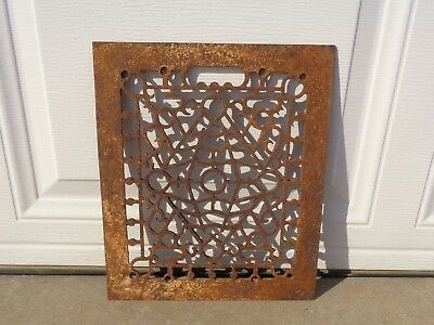 "Vintage VICTORIAN Cast Iron Floor Grille Heat Grate Register 14"" long x 12"" wide"