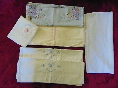 6 Gorgeous Brocante Shabby Chic Pillowslips Embroidered Pintucks Vintage 1940-50