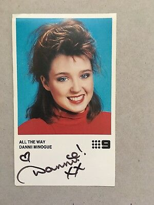 AUSTRALIAN TV FAN CARD DANNI MINOGUE CH 9 SIGNED 8x14cm