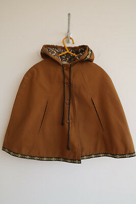 Vintage 60s/70s child's cape, Kamella,shower proof, hooded, cinnamon brown,age 3