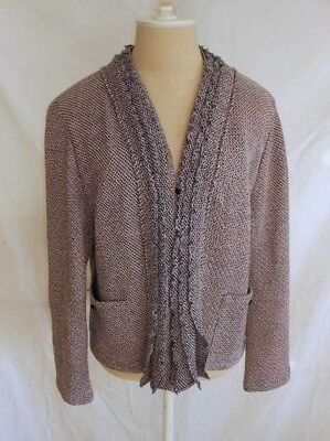 St John Sport Marie Gray Knit Tweed Jacket Blazer NOS Deadstock Trophy Fringe XL