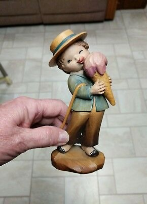 "ANRI Ferrandiz SUMMERTIME Hand Carved Figurine 6.5""  Wood Boy w/ Ice Cream"