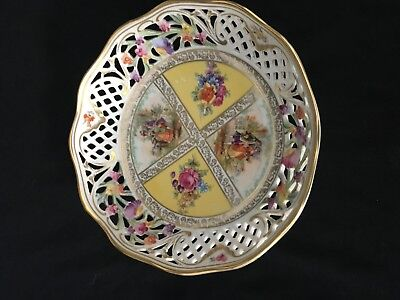 """Schumann Arzberg Germany Round Bowl Couple Pierced Reticulated 8"""""""