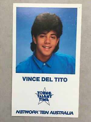 AUSTRALIAN TV FAN CARD YOUNG TALENT TIME VINCE DEL TITO 9x15cm