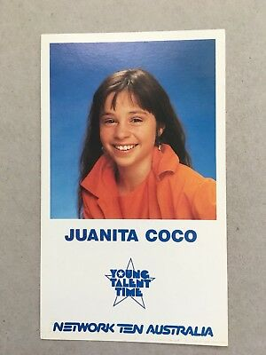 AUSTRALIAN TV FAN CARD YOUNG TALENT TIME JUANITA COCO 9x15cm