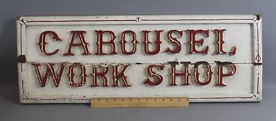 Antique Authentic >Carousel Workshop< RI Carved Wood Sign Looff  Crescent Park