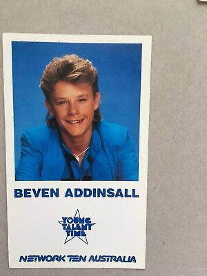 AUSTRALIAN TV FAN CARD YOUNG TALENT TIME BEVAN ADDINSALL 9x15cm