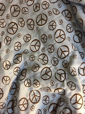 Baby Shopping Cart Seat Cover In Blue And Brown with peace signs & carry bag