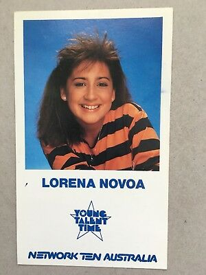 AUSTRALIAN TV FAN CARD YOUNG TALENT TIME LORENA NOVOA 9x15cm