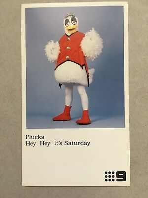 AUSTRALIAN TV FAN CARD HEY HEY ITS SATURDAY PLUCKA   8x14cm
