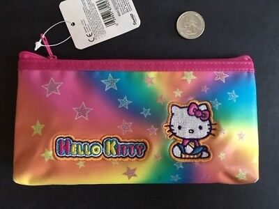 Vintage 2002 Sanrio HELLO KITTY Rainbow Cosmetic Bag Pencil Pouch Case NEW