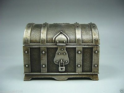 Collectibles Old Decorated Handwork Miao Silver Carving Jewelry box