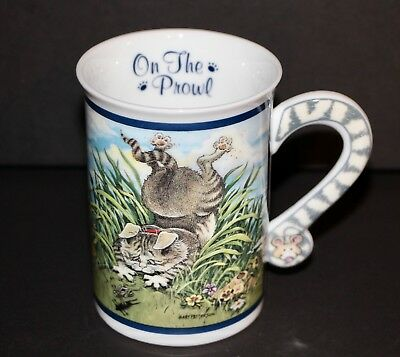 """""""On The Prowl"""" The Danbury Mint Comical Cats Porcelain Collector Mugs EUC"""