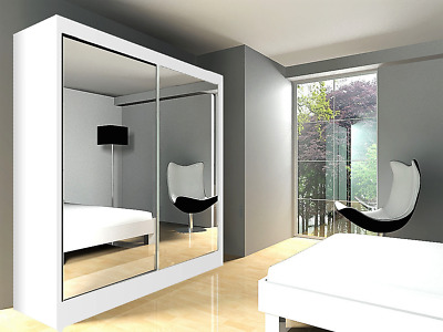 Four sizes WARDROBE Modern sliding door FULL mirror BEDROOM FURNITURE WHITE ARMA