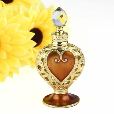12ml Vintage Heart Shaped Metal Crystal Refillable Empty Perfume Bottle US