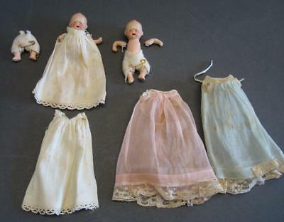 2 Antique Bisque Porcelain Miniature Baby Dolls with Open Mouth Marked Germany