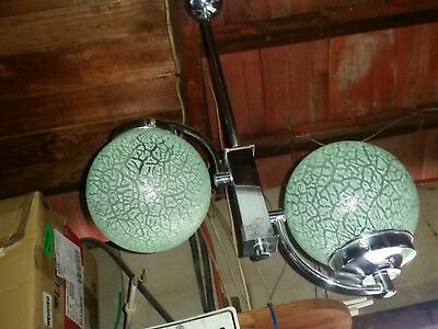 Art Deco Twin  Light Pendant Motely Green  Frosted Globes