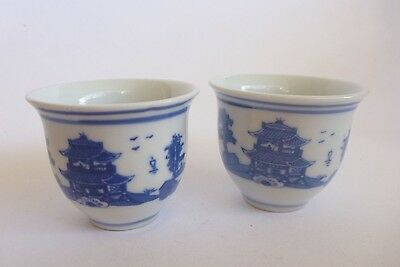 Asian Oriental Two Rice Wine Cups Small White Blue Landscape Ceramic Porcelain