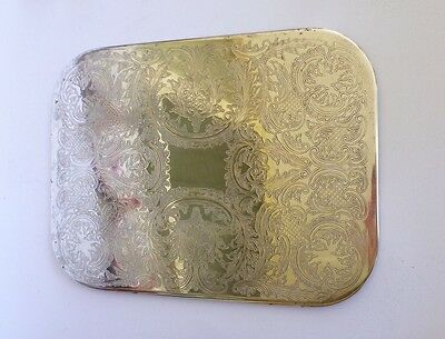 Silver Plated Metal Etched Ornate Floral Green Felt Tray Tea Hot Plate Serving