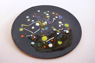 Copper Enameled Art Abstract Black Dots Plate Decor Display