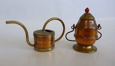 Two Miniature Mini Metal Copper Brass Small Watering Can Lid Container Kitchen