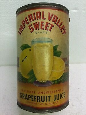Old Vintage Collectible Grapefruit Juice Tin Can W Paper Label Imperial Valley
