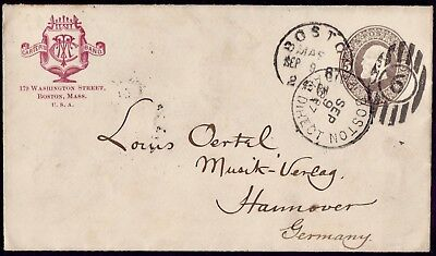 USA GERMANY Franked Boston Mass.9/9/1887 To Hannover VF Cover