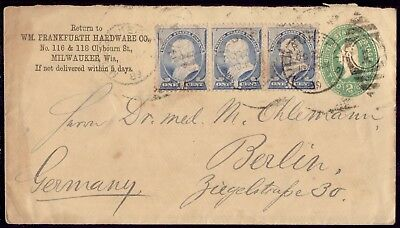 USA GERMANY 1889 From Milwaukee Wis. To Berlin.  VF Cover