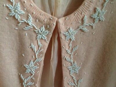 Vintage Imperial Imports Pink Beaded Cardigan Sweater Angora Wool Hong Kong Sz S