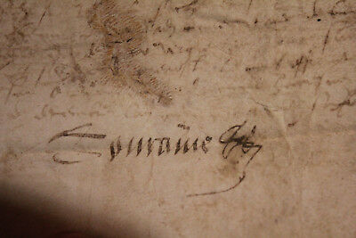 1568 manuscript letter relic very bad shape fragment Signed Dated parchment skin