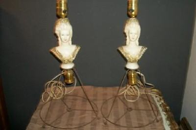 ANTIQUE FRENCH LADY 1/2 HALF DOLL PLASTER LAMP Pr CHIC SHABBY PARIS APT VINTAGE
