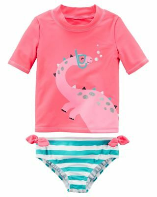 New Carter's Girls 2 piece Dinosaur Rash Gaurd Top & Swim Bottom Set 4T 5T 6 7 8