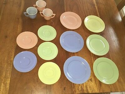 "Vintage Pastels 4.5"" & 6"" Yellow Blue Green Plates Cups Saucers Lot Of 14 (MH)"
