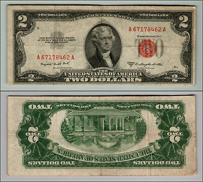 1953B $2 Dollar Bill Old Us Note Legal Tender Paper Money Currency Red Seal W499