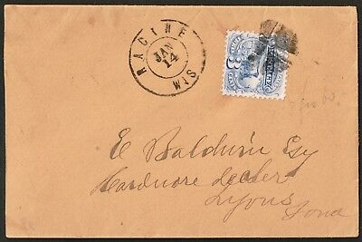 Usa 1814 Franked Racine Wisconsin To Lyons-Very Nice Cover